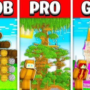 NOOB vs PRO vs GIRL FRIEND CIRCLE BLOCK MINECRAFT HOUSE Build Battle! (Building Challenge)