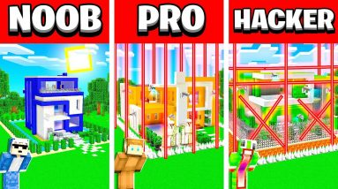 NOOB vs PRO vs HACKER MOST SECURE MINECRAFT MODERN HOUSE CHALLENGE! (Unspeakable vs Moose vs Shark)