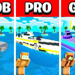 NOOB vs PRO vs GIRL FRIEND WORKING SUBMARINE HOUSE in Minecraft Build Battle! (Building Challenge)