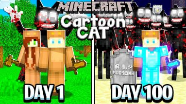 I Survived 100 Days with CARTOON CAT in MINECRAFT with GIRLFRIEND!