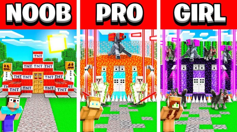 Minecraft NOOB vs PRO vs GIRL FRIEND BUNKER Build Challenge in Minecraft! (Animation)
