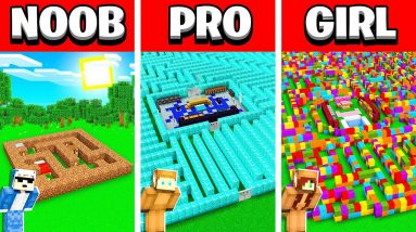 NOOB vs PRO vs GIRL FRIEND MINECRAFT MAZE HOUSE Build Battle! (Building Challenge)