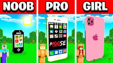 NOOB vs PRO vs GIRL FRIEND IPHONE House Build Battle in Minecraft! (Building Challenge)
