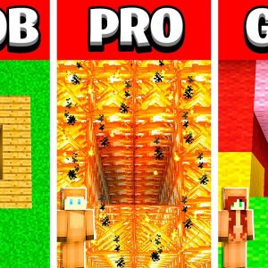 NOOB vs PRO vs GIRL FRIEND TUNNEL House Build Battle in Minecraft! (Building Challenge)