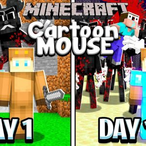 I Survived 100 Days with CARTOON MOUSE in MINECRAFT with Super_n00b_999!
