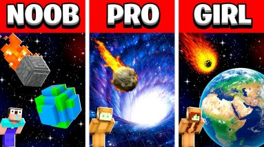 NOOB vs PRO vs GIRL FRIEND METEOR Minecraft House Build Battle! (Building Challenge)