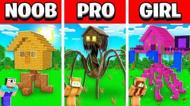 NOOB vs PRO vs GIRL FRIEND Minecraft HOUSE HEAD House Build Battle! (Building Challenge)