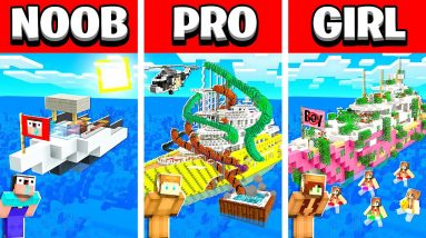 NOOB vs PRO vs GIRL MILLIONAIRE YACHT Minecraft House Build Battle! (Building Challenge)