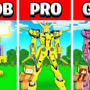NOOB vs PRO vs GIRL FRIEND ROBOT HOUSE Build Battle in Minecraft! (Building Challenge)