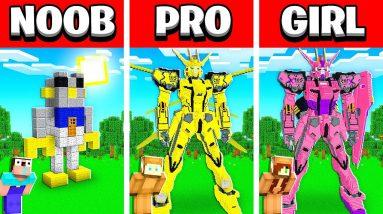 NOOB vs PRO vs GIRL FRIEND ROBOT HOUSE Build Battle in Minecraft! (Building Challenge)