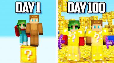 I Survived 100 Days on a LUCKY BLOCK Minecraft Island!