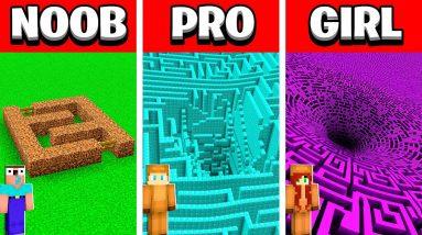 NOOB vs PRO vs GIRL FRIEND INFINITE MINECRAFT MAZE HOUSE Build Battle! (Building Challenge)