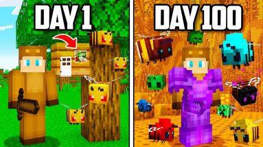 I Survived 100 Days inside a BEE HIVE in Minecraft!