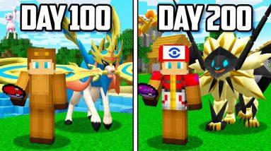 I Survived 200 Days in Minecraft POKEMON!