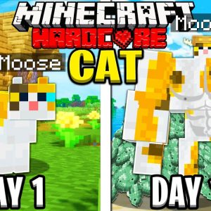 I Survived 100 Days as a CAT in HARDCORE Minecraft!