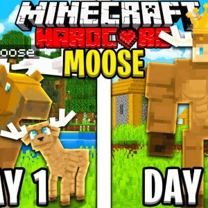 I Survived 100 Days as a MOOSE in HARDCORE Minecraft!