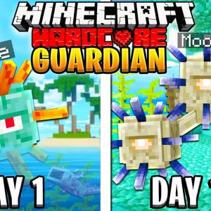 I Survived 100 Days as a ELDER GUARDIAN in HARDCORE Minecraft!