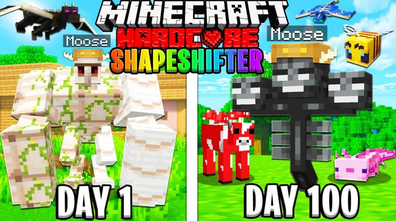 I Survived 100 Days as a SHAPESHIFTER in HARDCORE Minecraft!