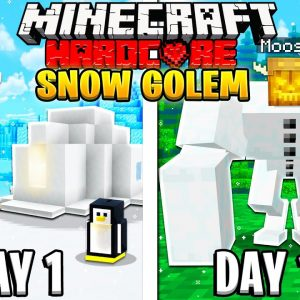 I Survived 100 Days as a SNOW GOLEM in HARDCORE Minecraft!